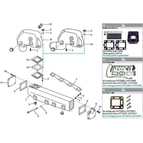 Mercruiser Manifolds, Elbows, End Caps & Gaskets 215 - 225 - 225MIE - 888 Ford 302 V8 233 - 233MIE - 255 - 255MIE - Ford 351 V8
