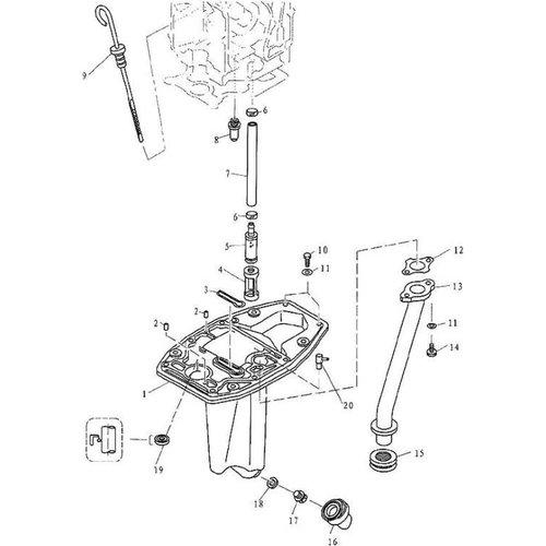 Parsun Buitenboordmotor F9.9, F13.5 & F15 Oil Pan onderdelen