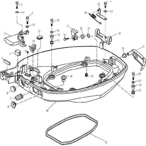 Yamaha/Parsun Buitenboordmotor F9.9, F13.5 & F15 Bottom Cowling onderdelen