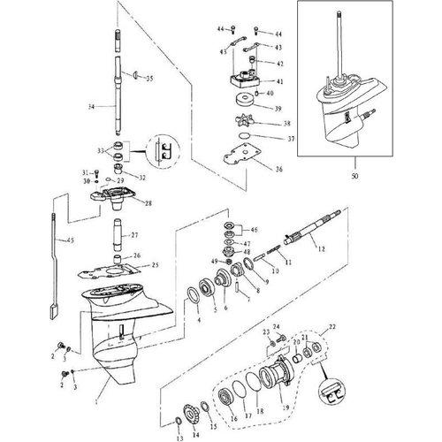 Yamaha/Parsun Buitenboordmotor F9.9, F13.5 & F15 Lower Casing & Drive 1 onderdelen