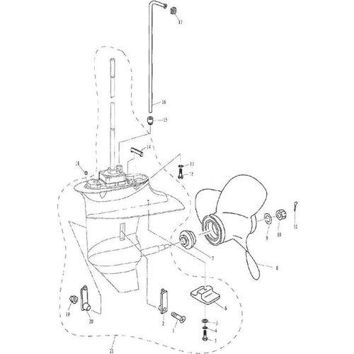 Parsun Buitenboordmotor F9.9, F13.5 & F15 Lower Casing & Drive 2 onderdelen
