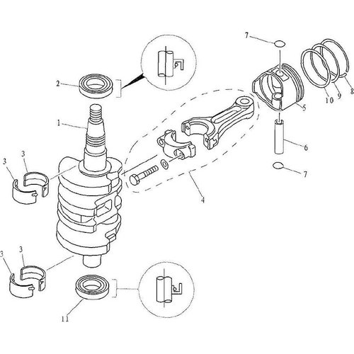 Yamaha / Parsun Outboard Engine F9.9, F13.5 & F15 Crankshaft & Piston Parts