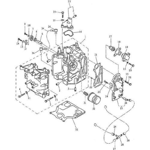 Yamaha/Parsun Buitenboordmotor F9.9, F13.5 & F15 Cylinder & Crankcase 1 onderdelen