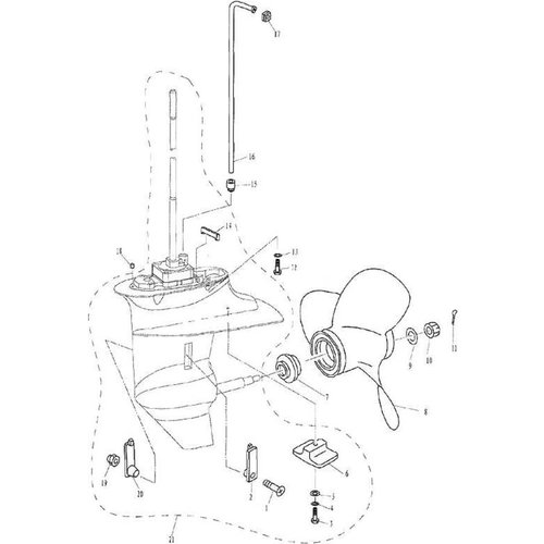 Yamaha/Parsun Buitenboordmotor F9.9, F13.5 & F15 Lower Casing & Drive 2 onderdelen