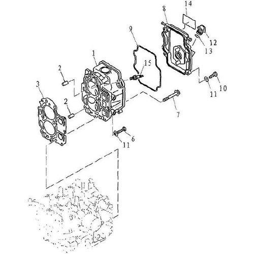 Yamaha/Parsun Buitenboordmotor F9.9, F13.5 & F15 Cylinder & Crankcase 2 onderdelen