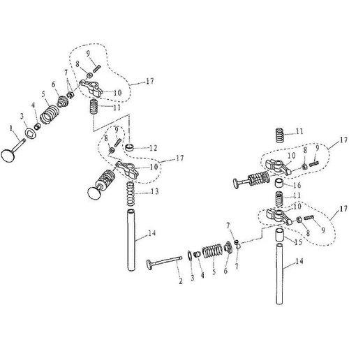 Parsun Buitenboordmotor F9.9, F13.5 & F15 Valve onderdelen