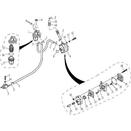 Parsun Buitenboordmotor F9.9, F13.5 & F15 Fuel onderdelen