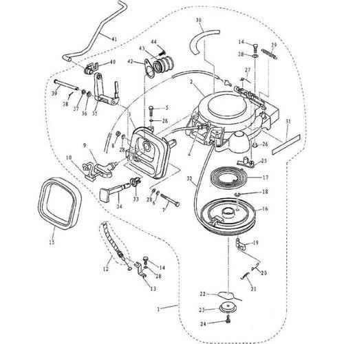 Yamaha/Parsun Buitenboordmotor F9.9, F13.5 & F15 Starter 1 onderdelen
