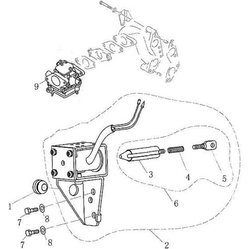Parsun Buitenboordmotor F9.9, F13.5 & F15 Electric Starter onderdelen