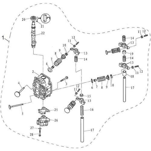 Parsun Buitenboordmotor F9.9, F13.5 & F15 Cylinder Head Assy onderdelen