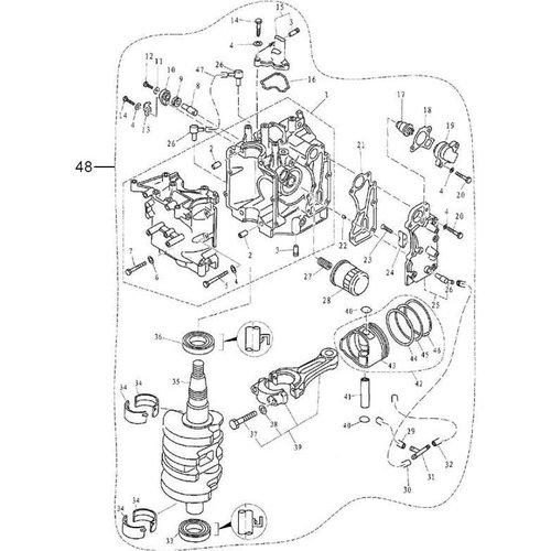 Yamaha/Parsun Buitenboordmotor F9.9, F13.5 & F15 Engine Assy onderdelen
