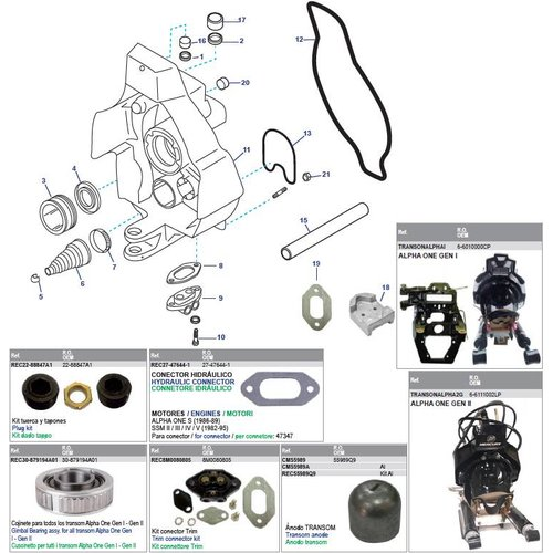 Mercruiser Gimbal housing & Power steering cylinder kit ALPHA ONE Gen I & II