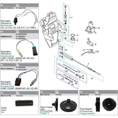 MerCruiser Transom Plate, Shift Cable & Pump Assembly Power Steering