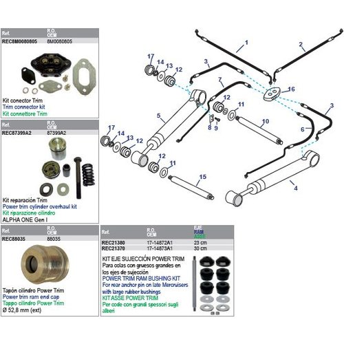 MerCruiser Power Trim Arms & Power Steering Hoses Models 1R/MR/Alpha One 1983-1990