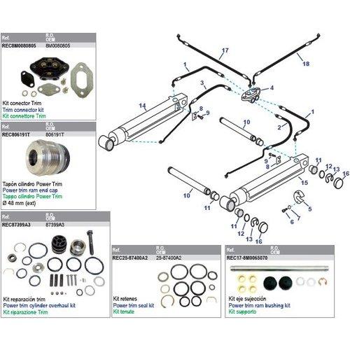 MerCruiser Power Trim Arms & Power Steering Hoses Models Alpha One Gen II