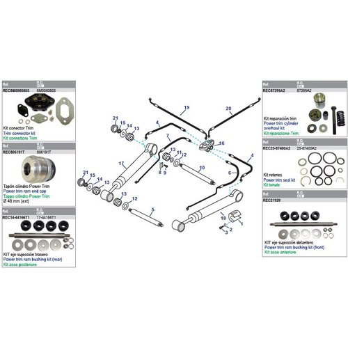 MerCruiser Power Trim Arms & Power Steering Hoses Models Bravo