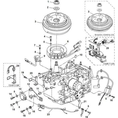 Yamaha/Parsun Buitenboordmotor F20A (F15A) BM (FW) Electrical 1 onderdelen