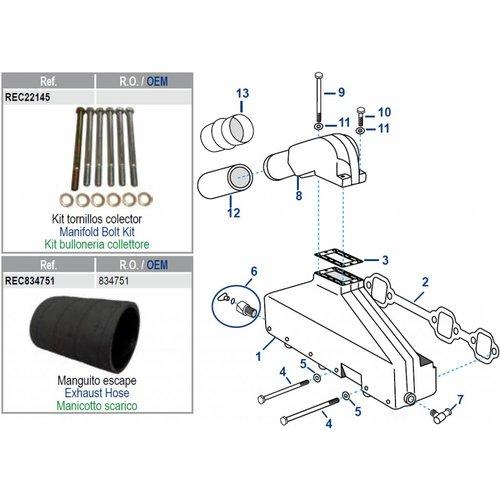 Volvo V6 spruitstuk/uitlaat rubbers en pakkingen o.a. AQ175/205/430/431/434
