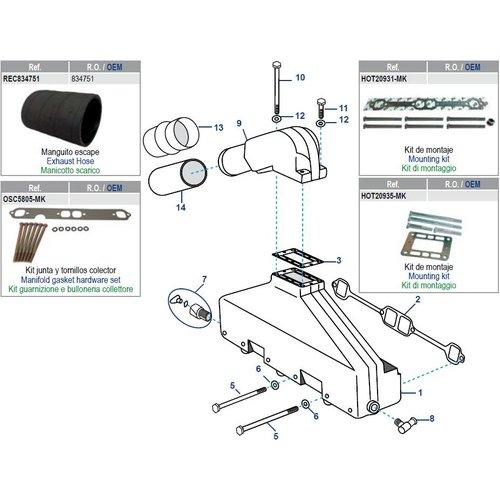 Volvo manifold/spruitstuk AQ/BB modellen: 200 tot 572 + GM305/350 CID