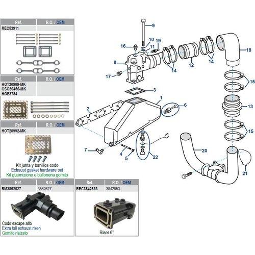 Volvo Penta Manifold, Elbow & Gaskets V8 5.0/5.7L GM305 /  GM CID 1193+