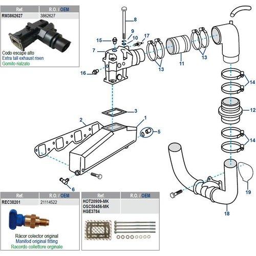 Volvo Penta Manifold, Elbow & Gaskets V8 7,4/8.2 Liter GM 454/502 CID 1992+
