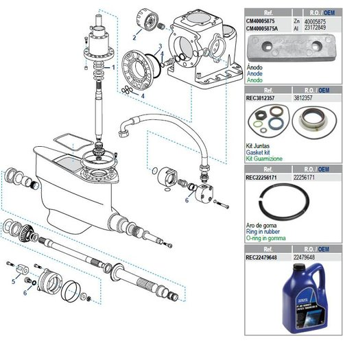 Volvo Penta IPS-A, B, C, D, E, F Gearcase Components