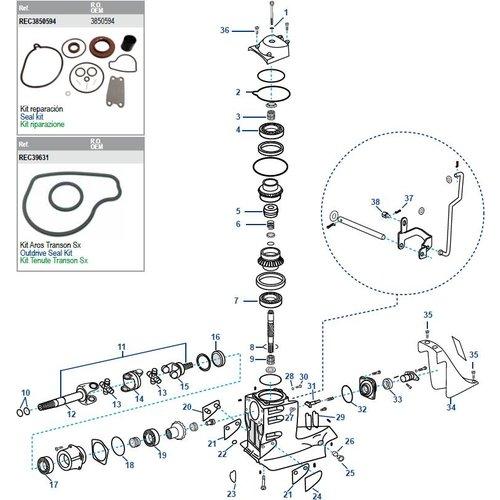 Volvo Penta SX Driveshaft Housing Components