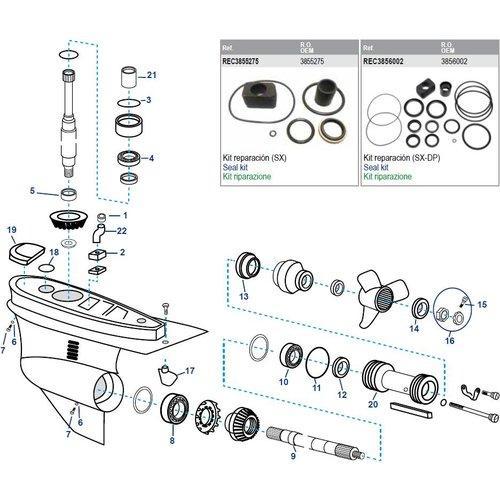 Volvo Penta SX Lower Housing Components