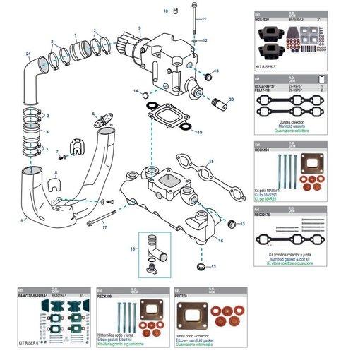 Mercruiser Manifolds Elbows 4.3L CARB MPI ALPHA/BRAVO