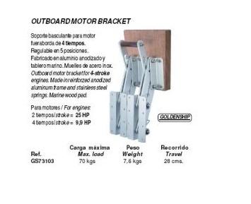 Buitenboordmotor bracket tot 25 pk 2-takt en 9,9 pk 4-takt of tot 79 kilo (GS73103)