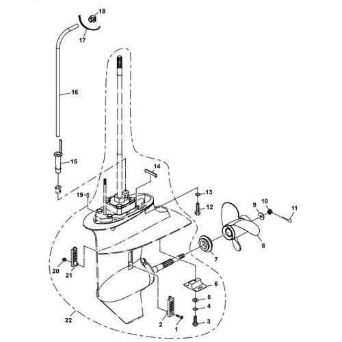 Parsun Buitenboordmotor F20A (F15A) BM (FW) Lower Casing & Drive 2 onderdelen