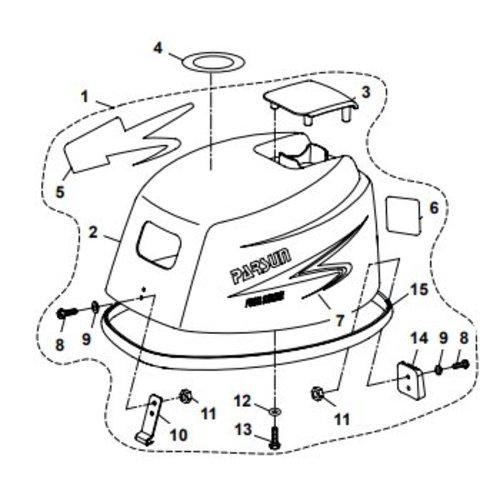 Parsun Buitenboordmotor F20A (F15A) BM (FW) Top Cowling Assy onderdelen