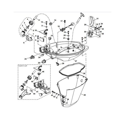 Parsun Buitenboordmotor F20A (F15A) BM (FW) Bottom Cowling onderdelen