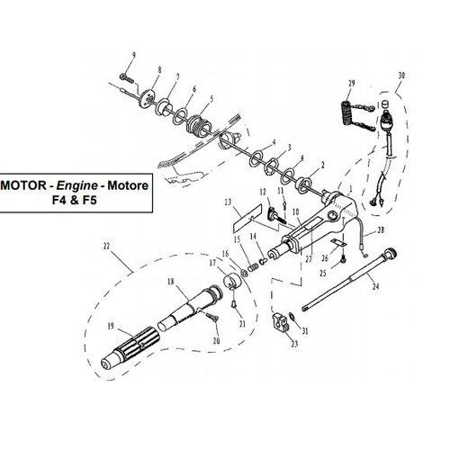 Parsun Buitenboordmotor F4 & F5 Steering onderdelen