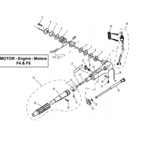 Parsun Outboard Engine F4 & F5 Steering Parts