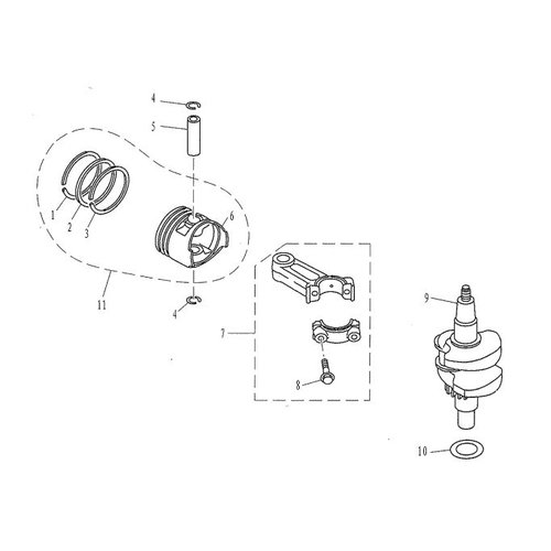 Parsun Buitenboordmotor F4 & F5 Crankshaft & Piston onderdelen