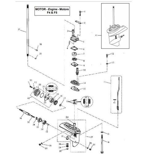 Parsun Buitenboordmotor F4 & F5 Lower Drive Assy onderdelen
