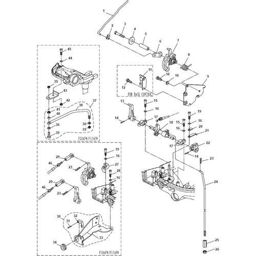 Parsun Buitenboordmotor F20A (F15A) BM (FW) Control System onderdelen