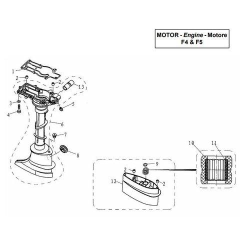 Parsun Buitenboordmotor F4 & F5 Upper Casing onderdelen