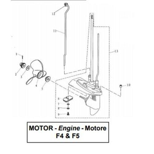 Parsun Buitenboordmotor F4 & F5 Lower Casing & Drive onderdelen