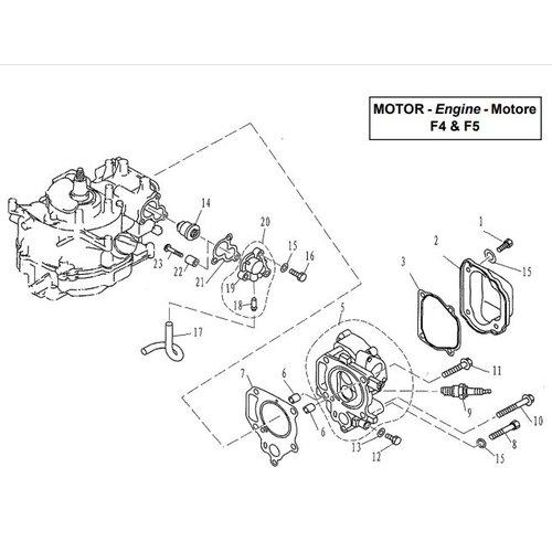Parsun Buitenboordmotor F4 & F5 Cylinder & Crankcase 1 onderdelen