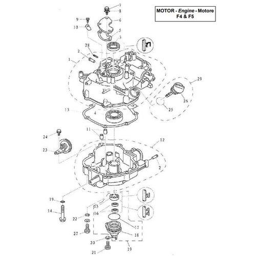 Parsun Buitenboordmotor F4 & F5 Cylinder & Crankcase 2 onderdelen