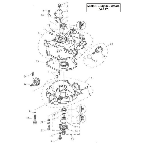 Parsun Outboard Engine F4 & F5 Cylinder & Crankcase 2 Parts