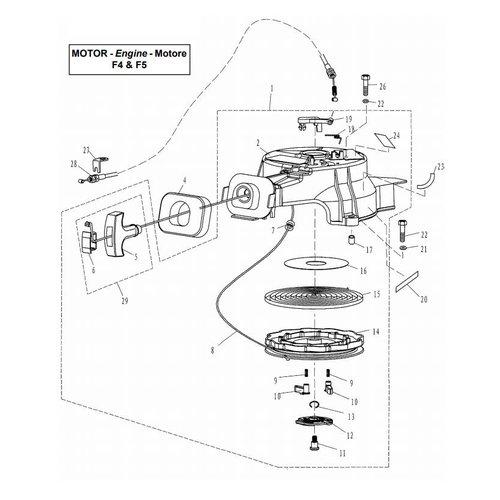 Parsun Buitenboordmotor F4 & F5 Starter onderdelen