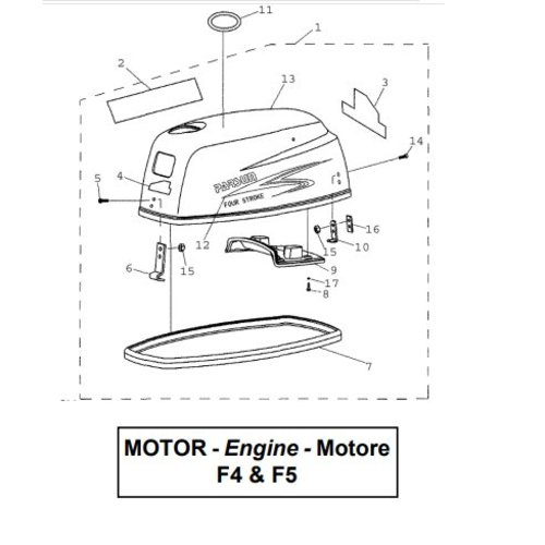 Parsun Buitenboordmotor F4 & F5 Top Cowling onderdelen