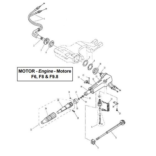 Parsun Outboard Engine F6, F8 & F9.8 Steering Parts