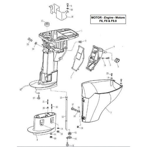 Parsun Buitenboordmotor F6, F8 & F9.8 Upper Casing onderdelen