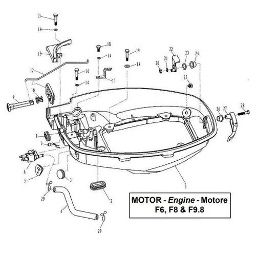 Parsun Buitenboordmotor F6, F8 & F9.8 Bottom Cowling onderdelen