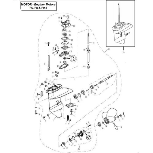 Parsun Buitenboordmotor F6, F8 & F9.8 Lower Casing & Drive onderdelen