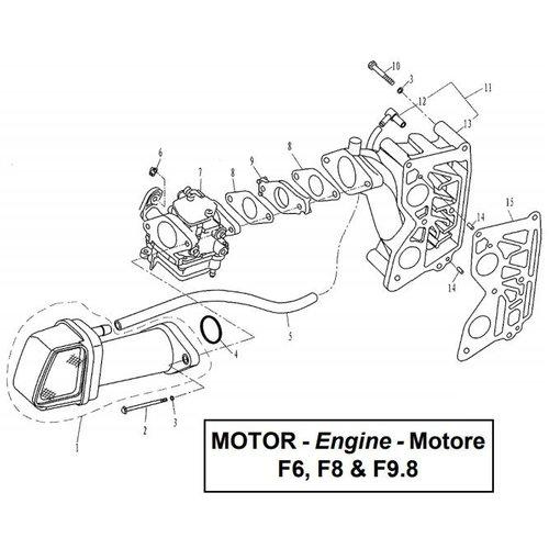 Parsun Buitenboordmotor F6, F8 & F9.8 Intake onderdelen